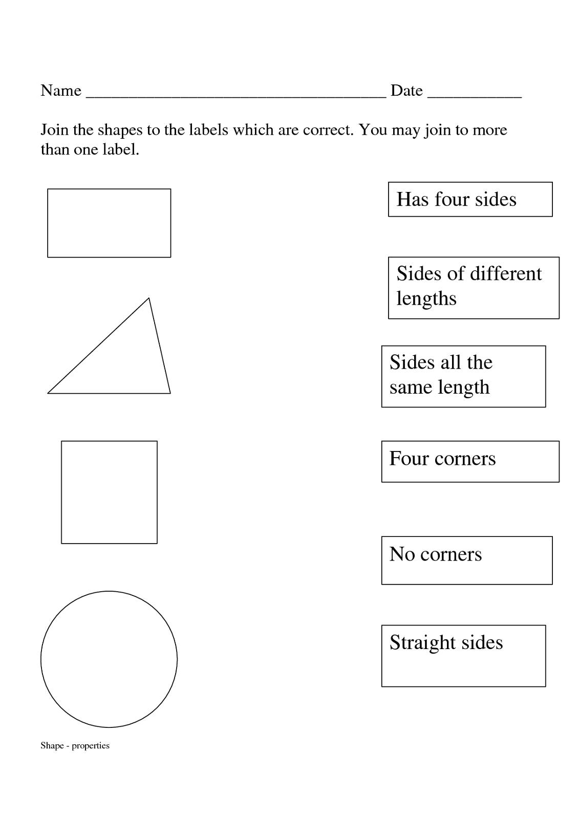 Shapes and Sides Worksheets to Print | Activity Shelter