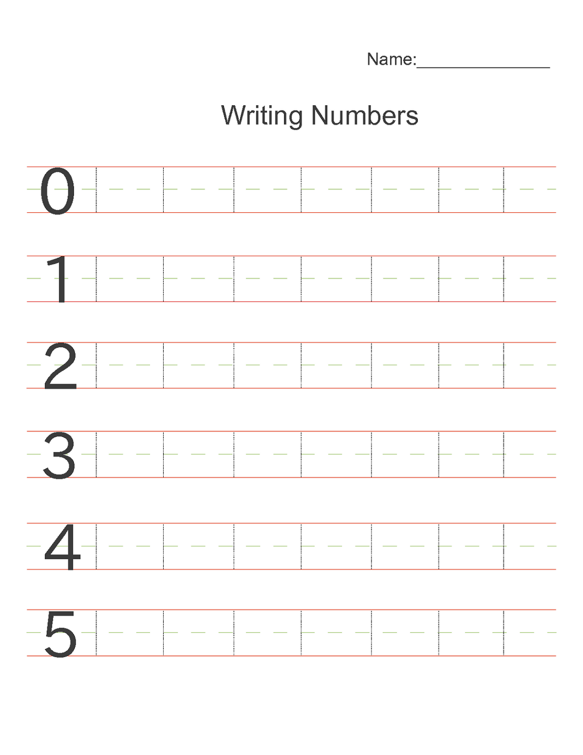 writing numbers worksheets preschool