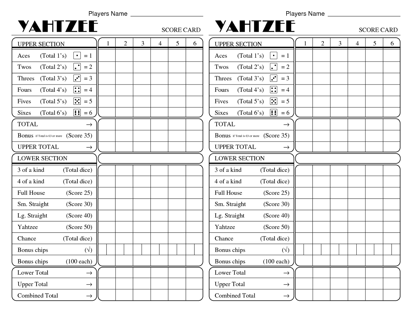 Yahtzee Score Sheets Printable | Activity Shelter | 1400 x 1081 png 238kB