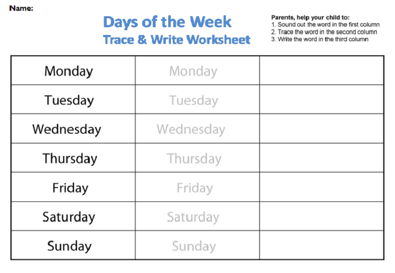 Days of the Week Worksheets | Activity Shelter