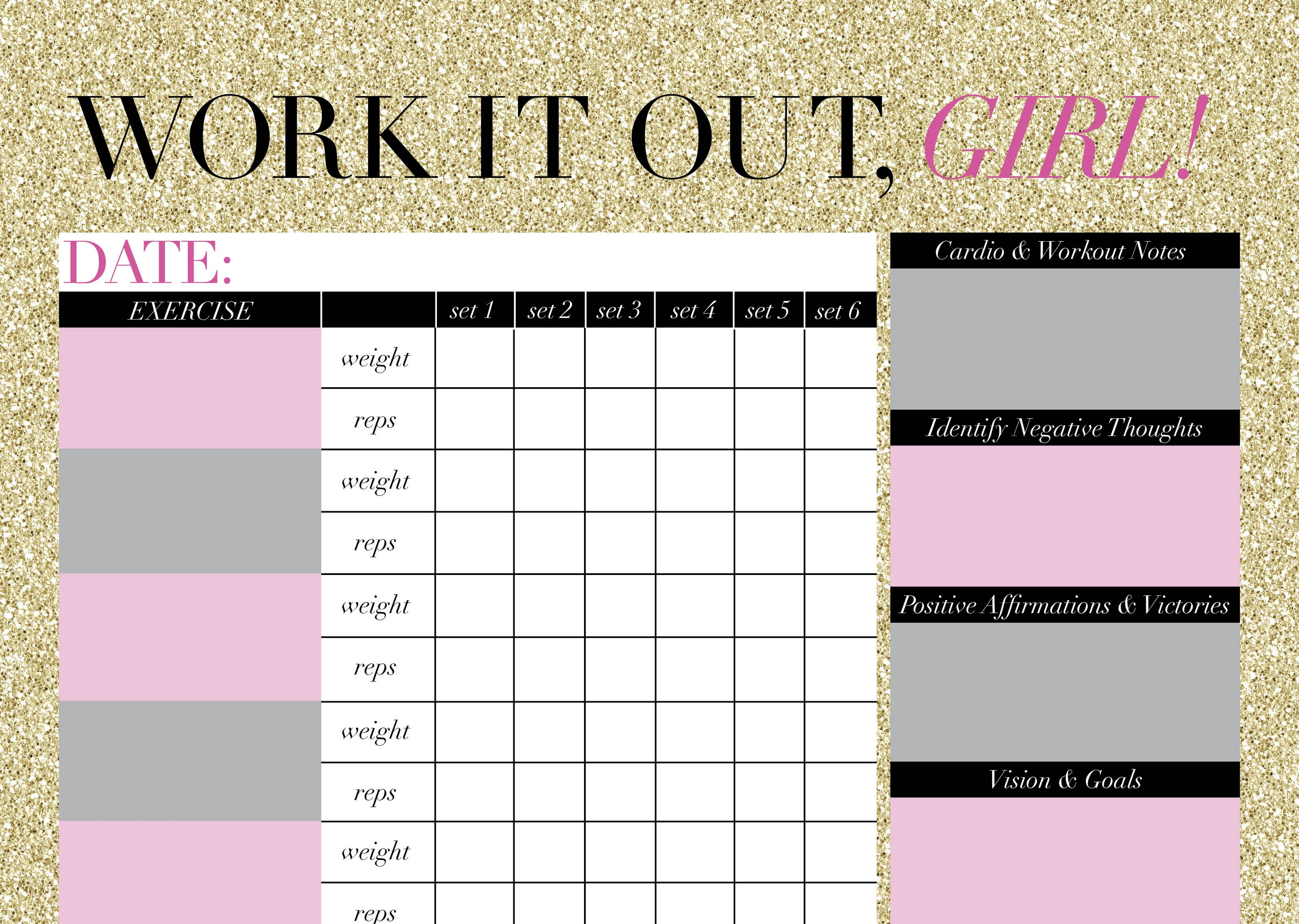 Printable Workout Calendar cute