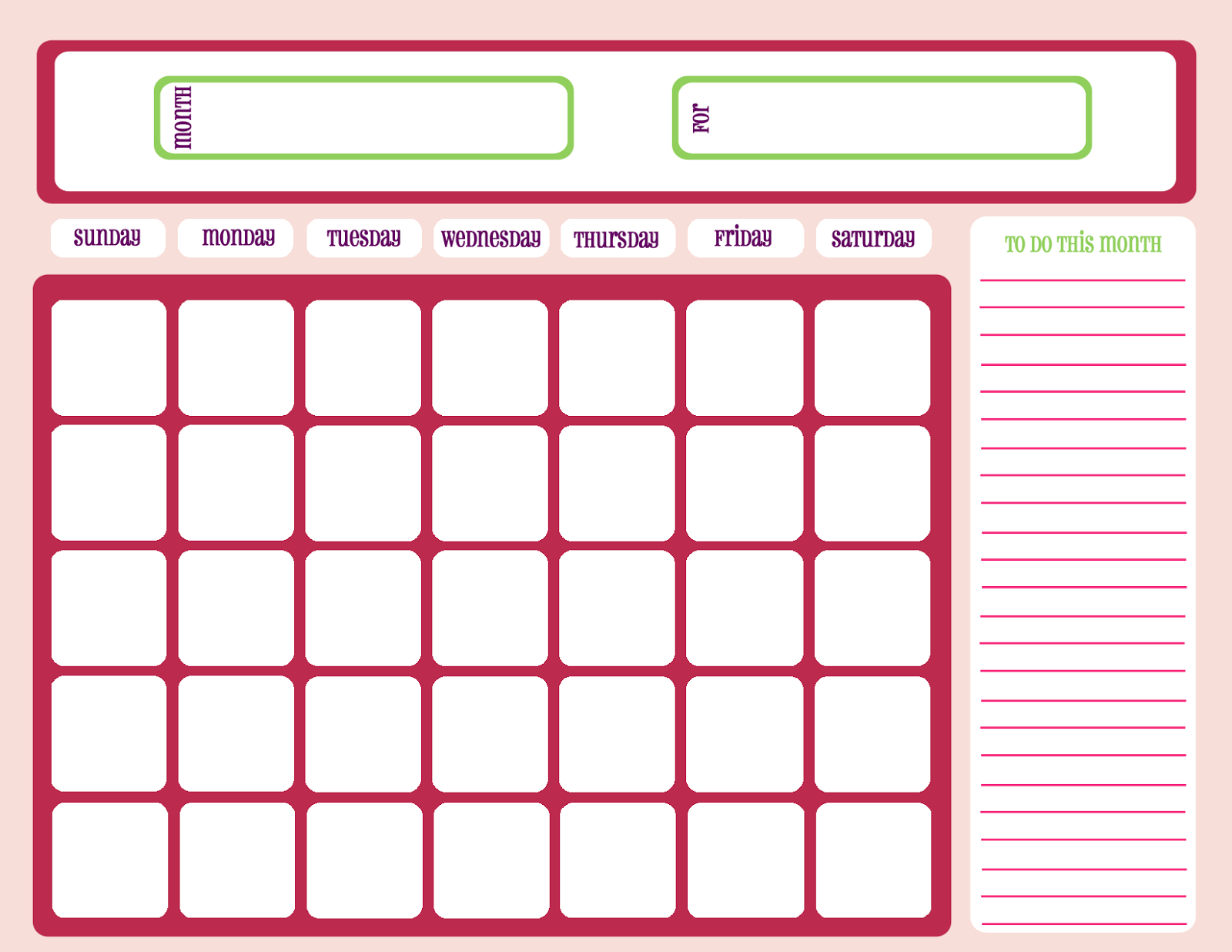 Printable Workout Calendar pink