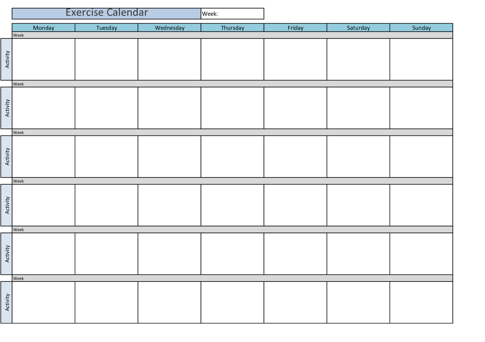 Workout Calendar Template : Printable workout calendar activity shelter