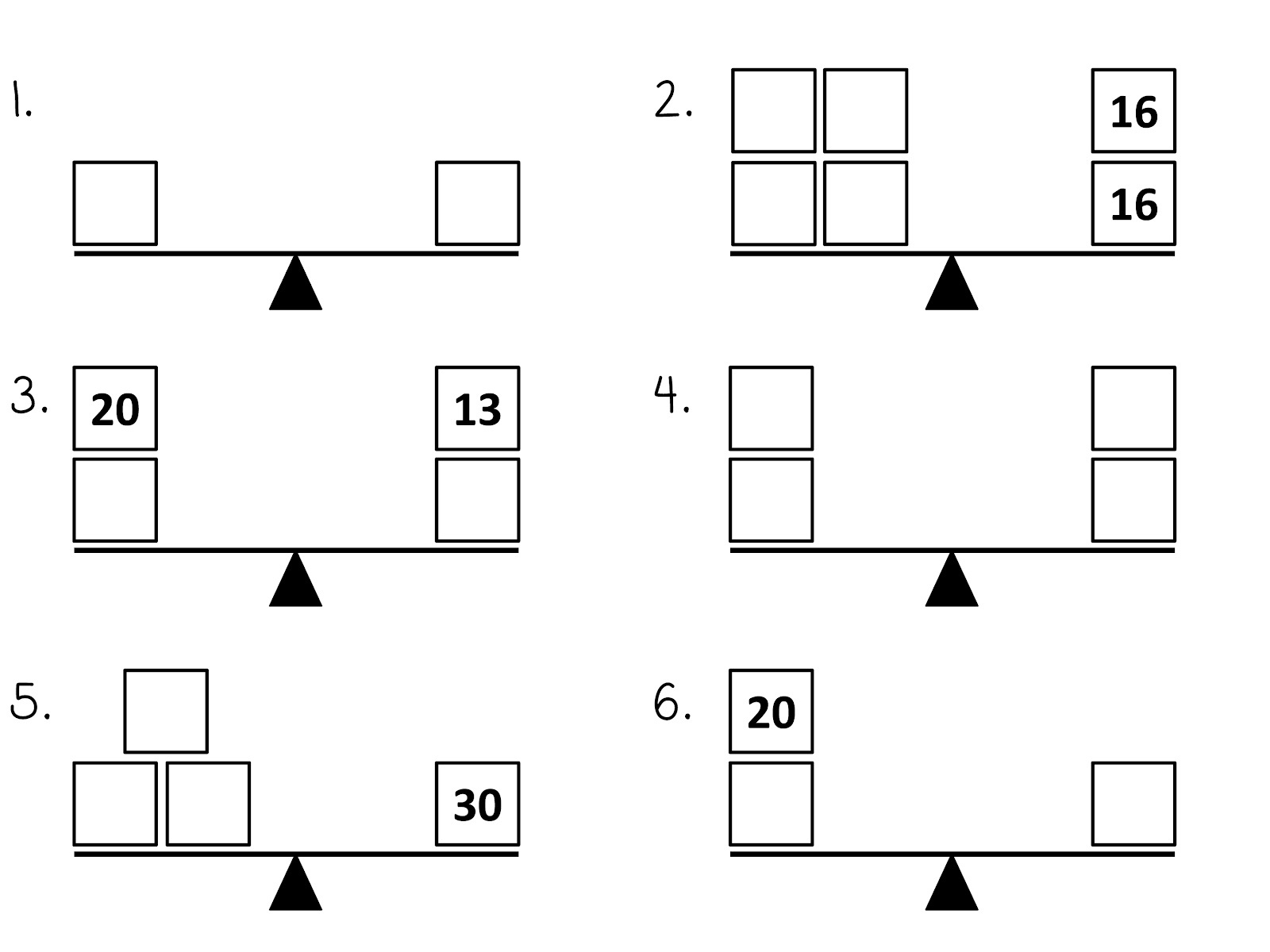 balance scale worksheet practice