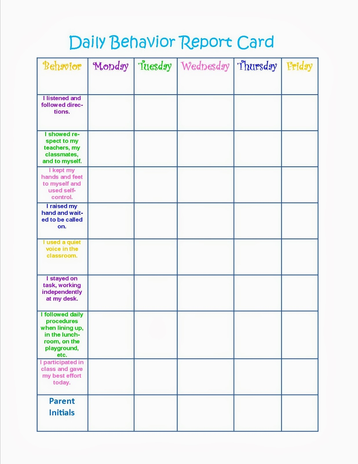 Behavior charts printable for kids activity shelter for Behavior charts for preschoolers template