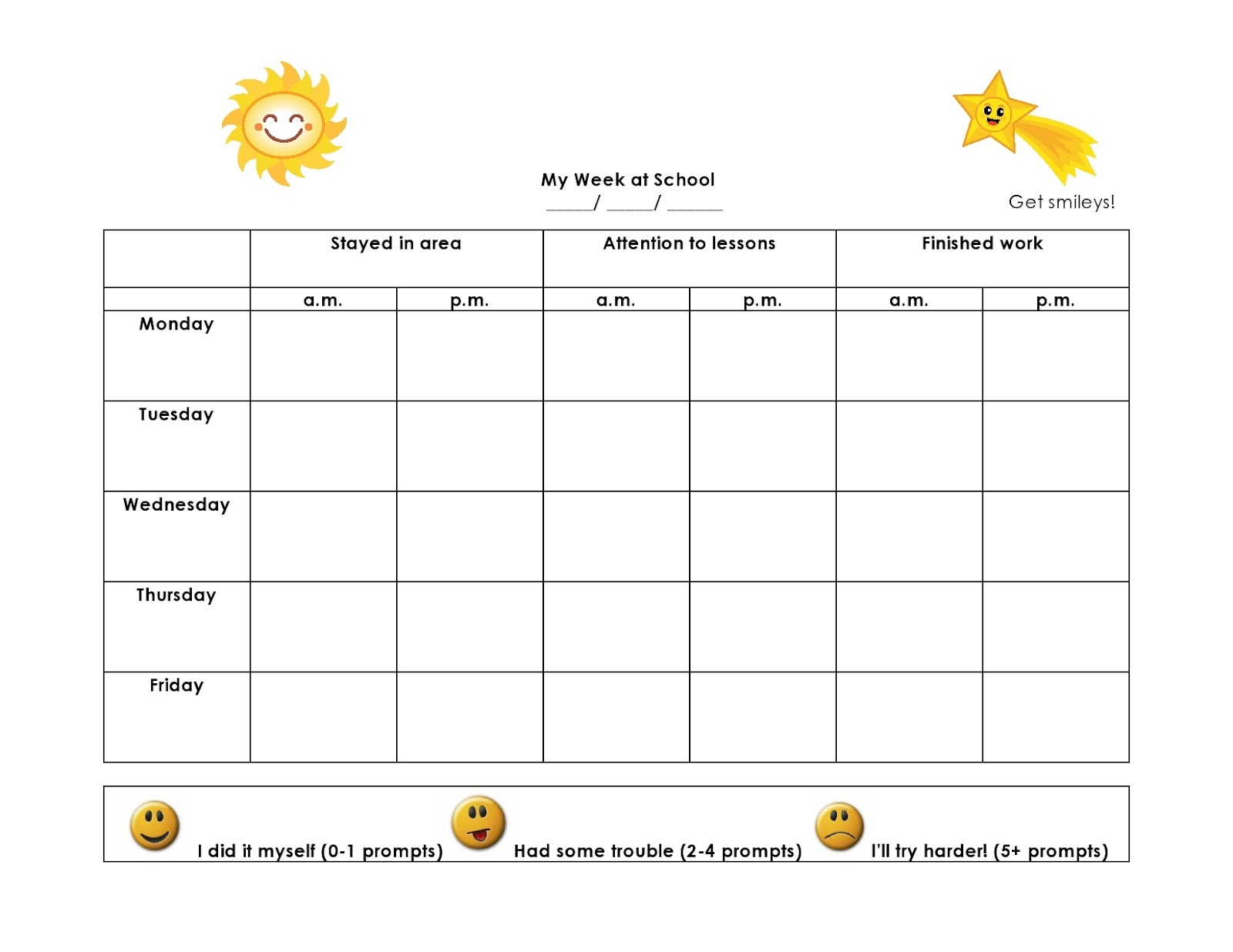 behaviour charts free