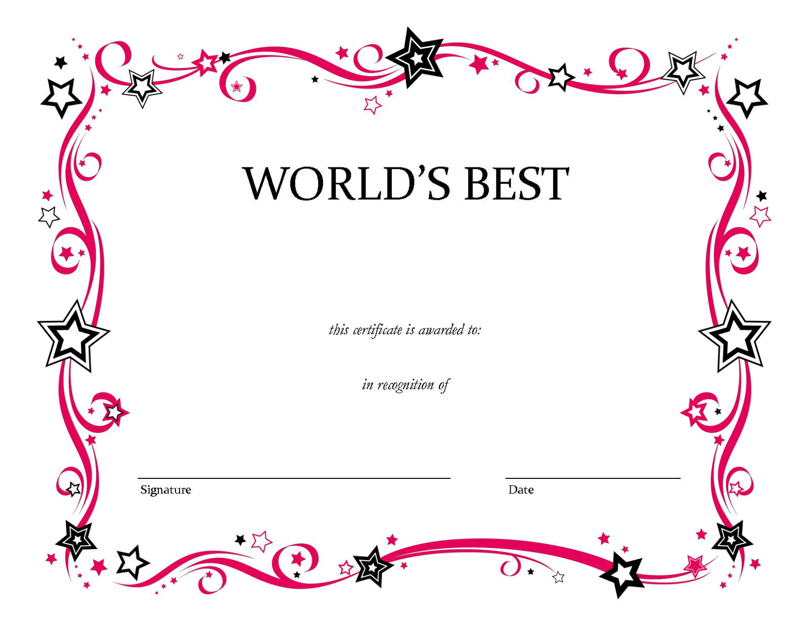 Blank certificate borders for kids the for Free printable certificate templates