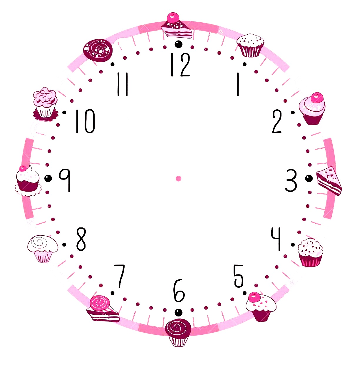 blank clock template pink