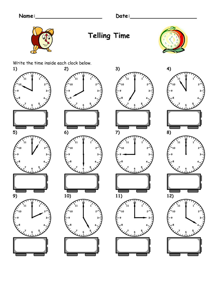 blank clock worksheet for child
