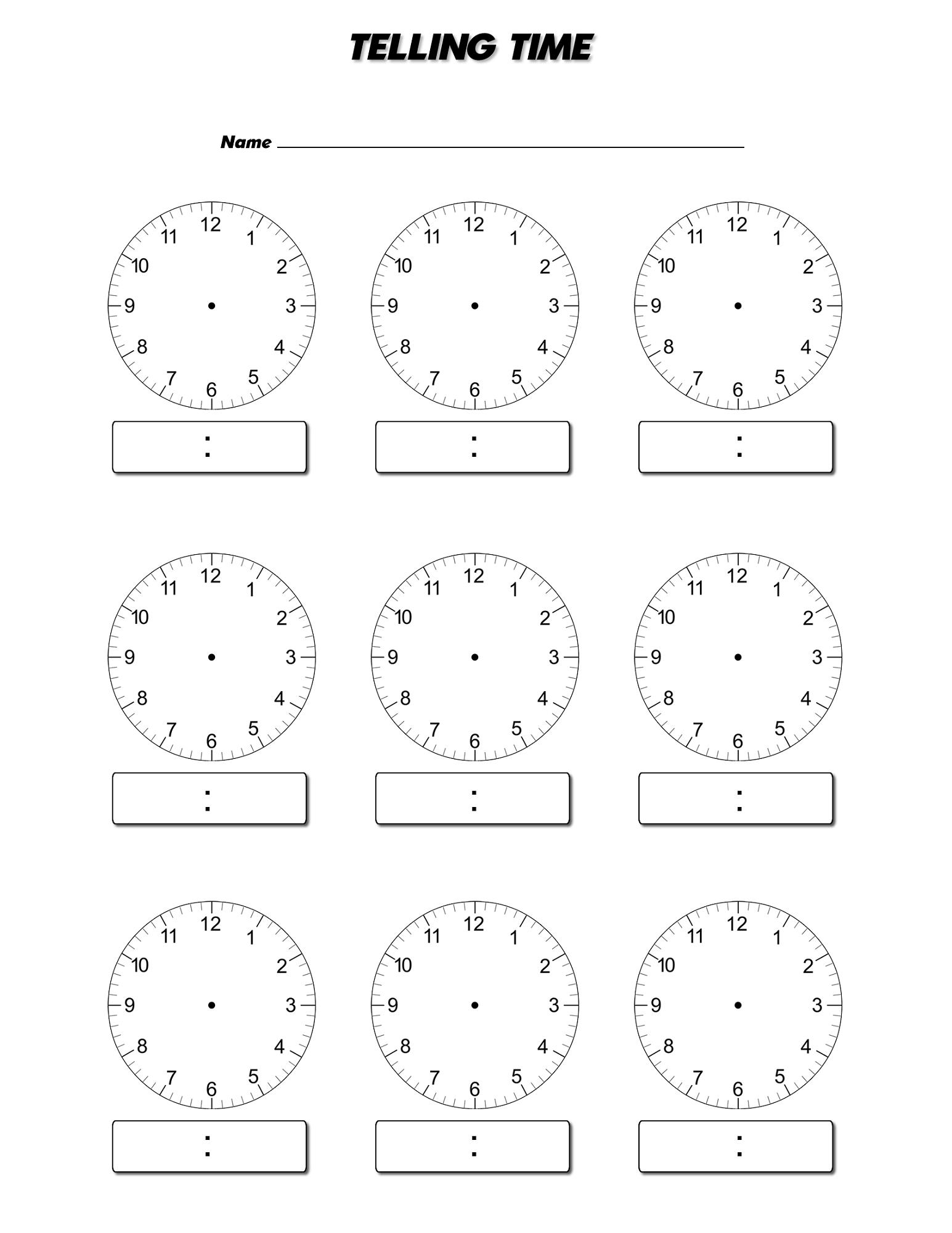 blank clock worksheet new