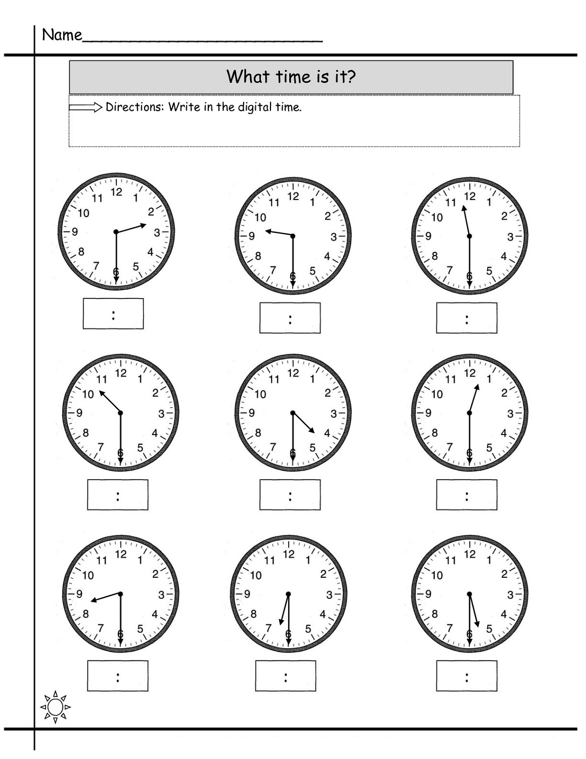 blank clock worksheet practice