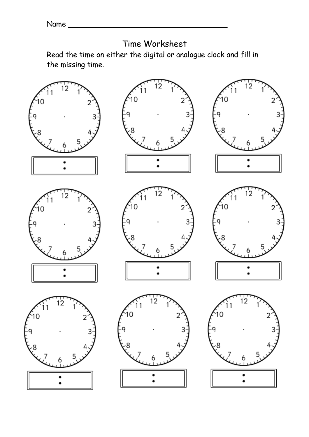 blank clock worksheet printable