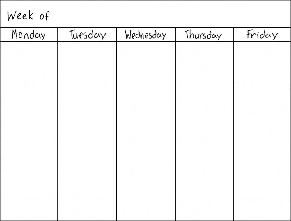 blank weekly calendar 5 days