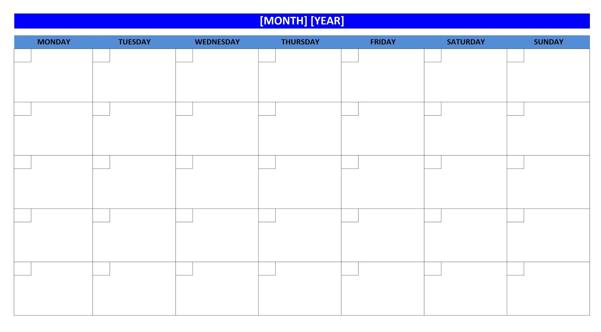 blank weekly calendar new