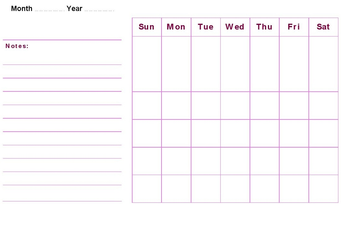 Weekly Calendar With Notes : Blank weekly calendars printable activity shelter