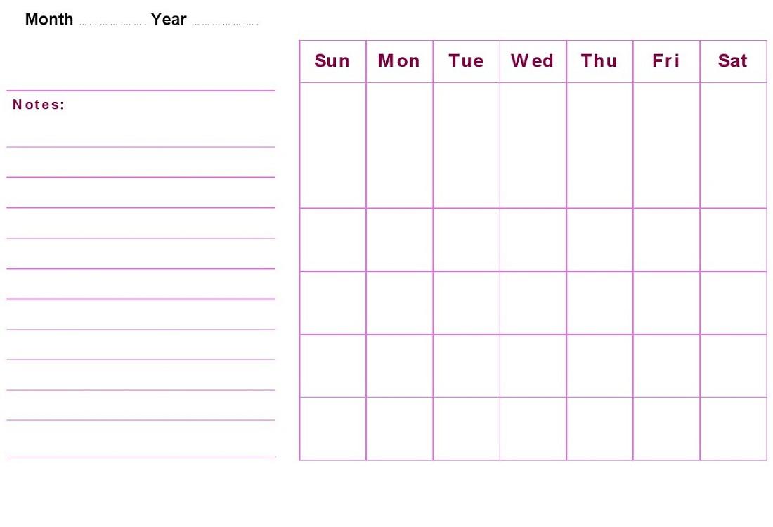 blank weekly calendar printable