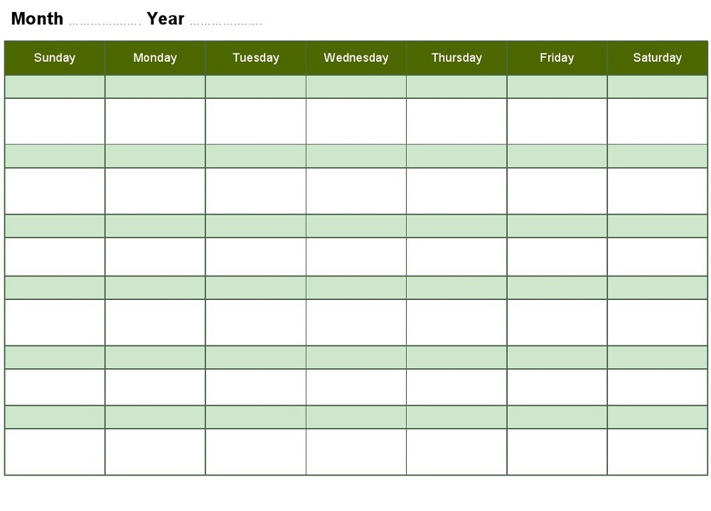 Blank Weekly Calendars Printable | Activity Shelter