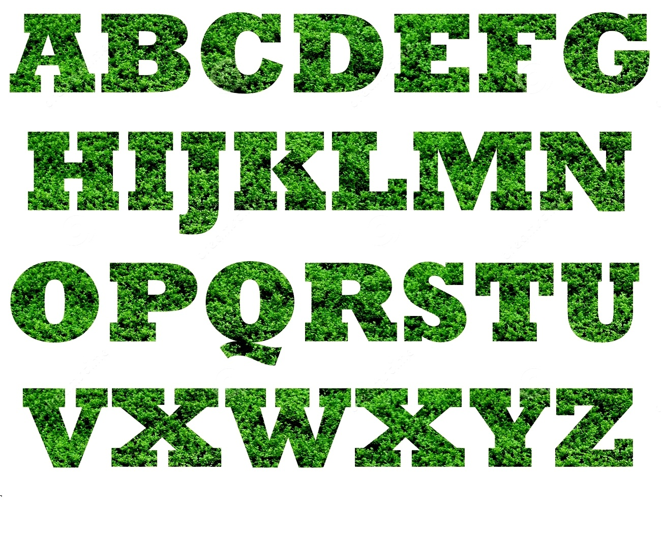 capital alphabet letters green
