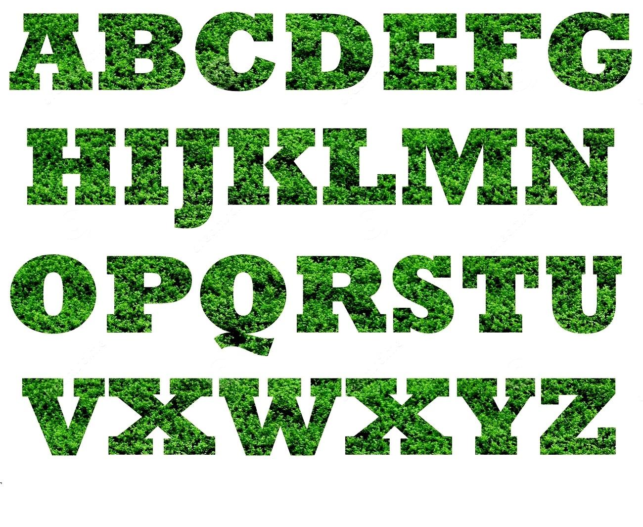capital alphabet letters green