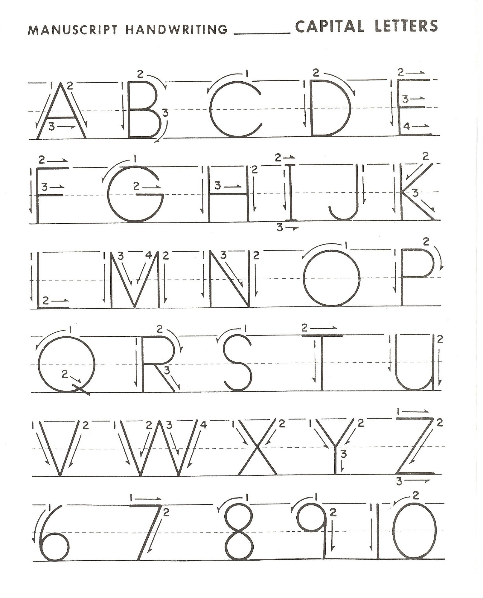 capital alphabet letters writing