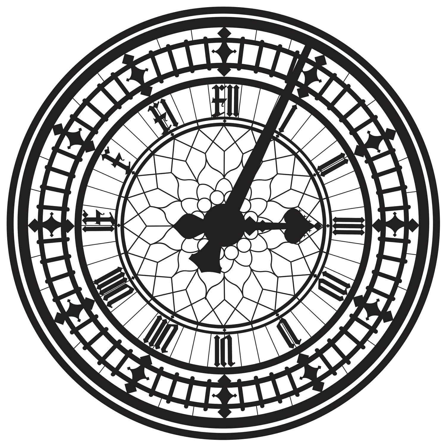 clock face printable london