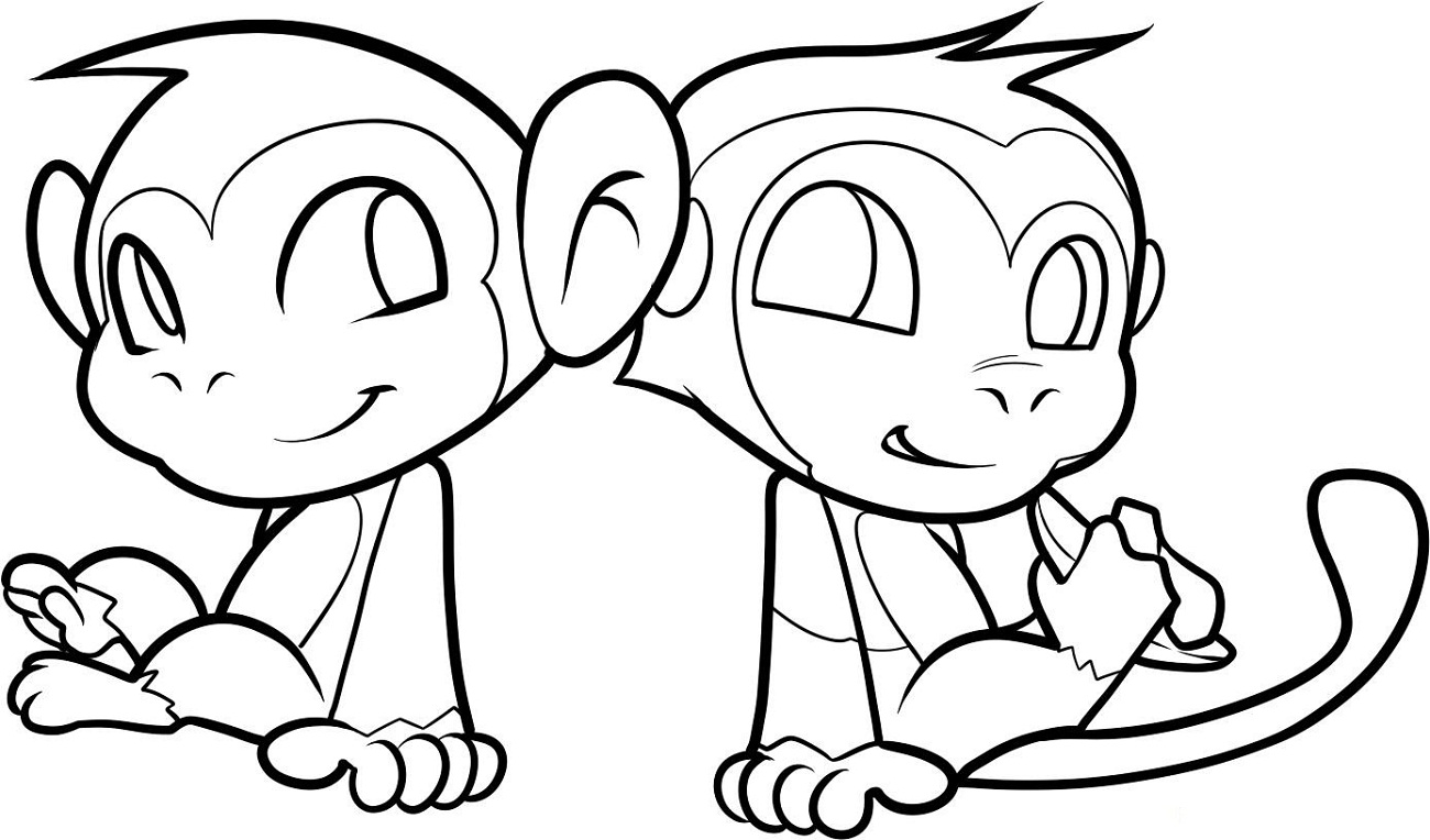 coloring pages of monkeys cute