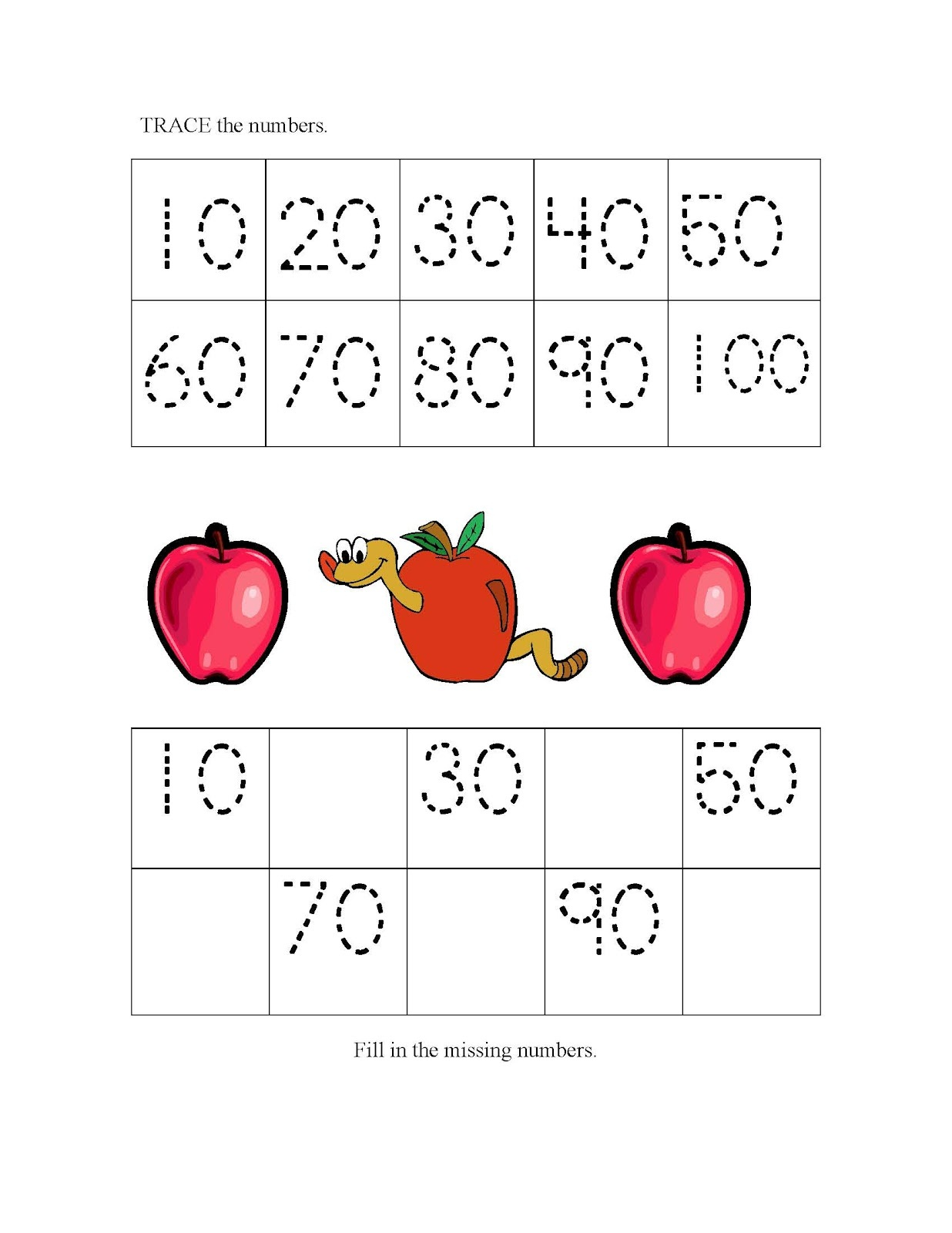 count by 10s worksheet for child