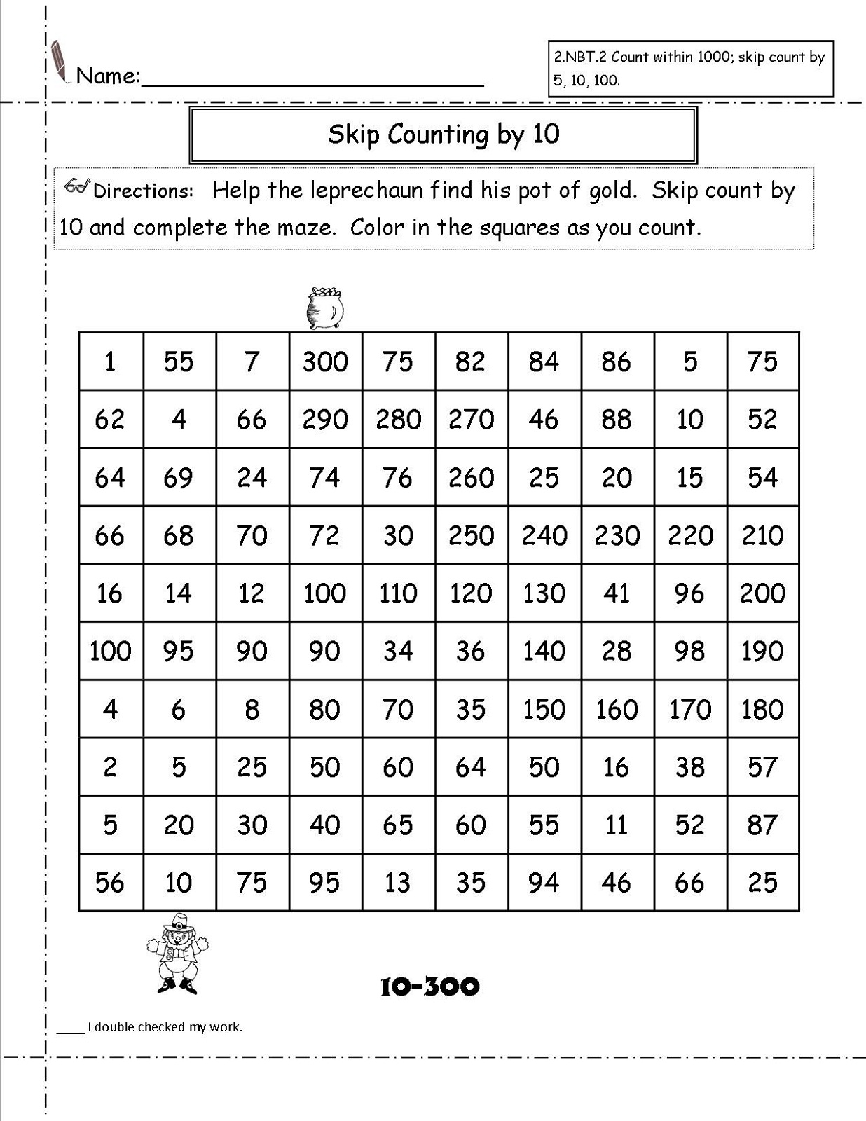 count by 10s worksheet practice