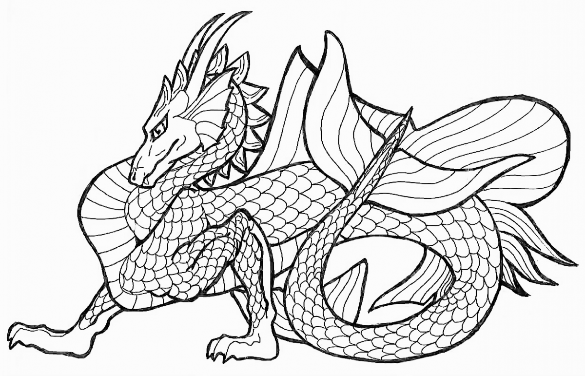 dragon colouring pages for adult - Challenging Dragon Coloring Pages