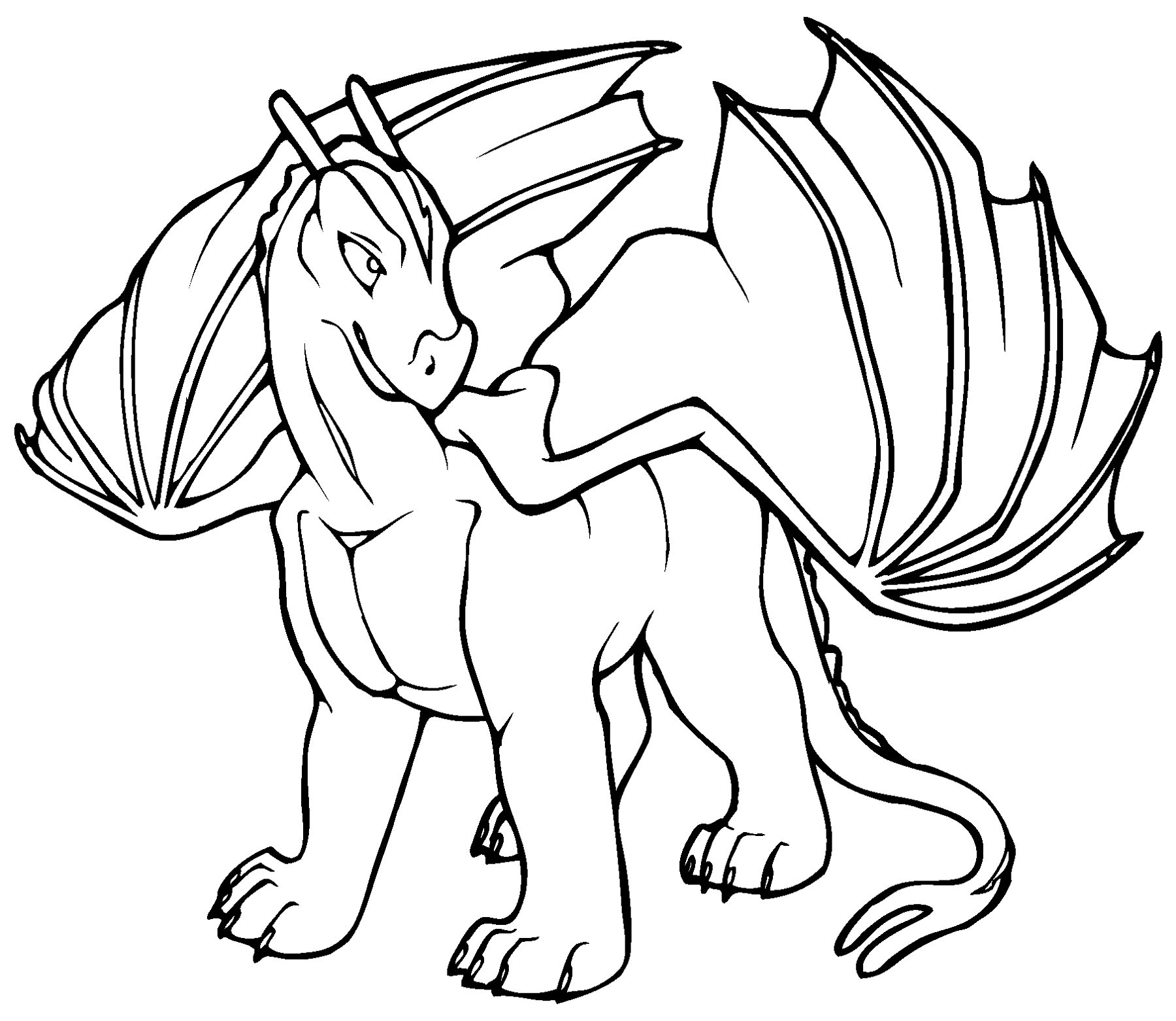 dragon colouring pages simple