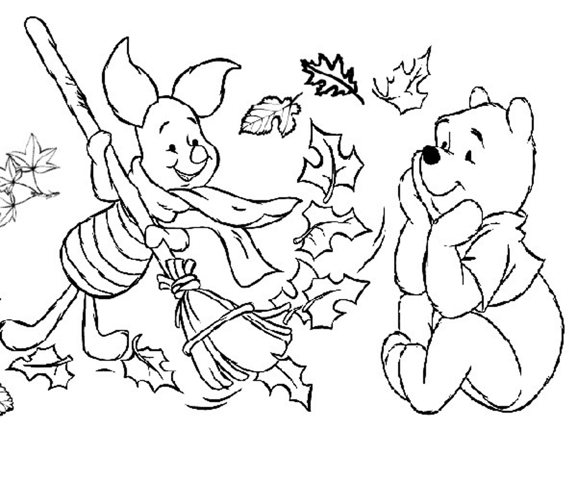 fall coloring for pooh