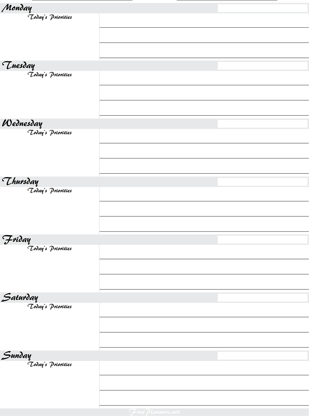 Free Printable Planner Pages | Activity Shelter