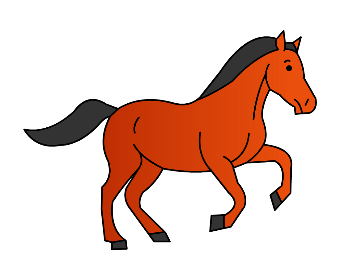 how to draw a simple horse for kids