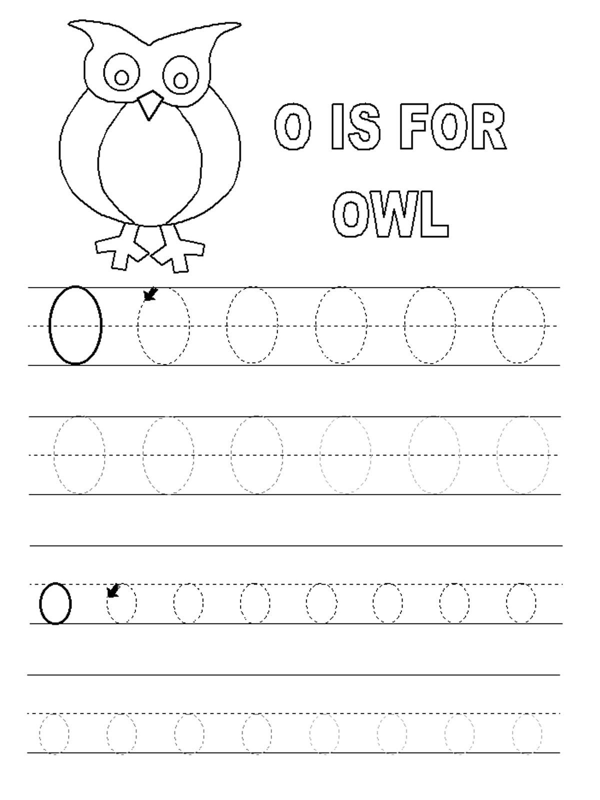 letter o worksheets for kids