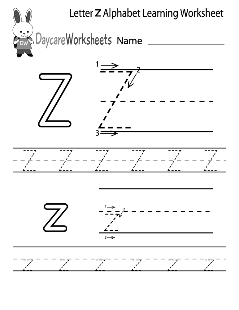 letter z worksheet 2016