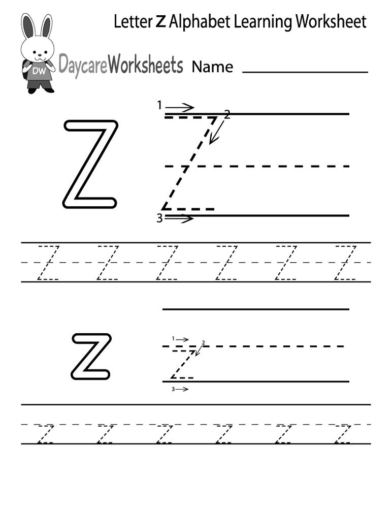letter z worksheet 2016