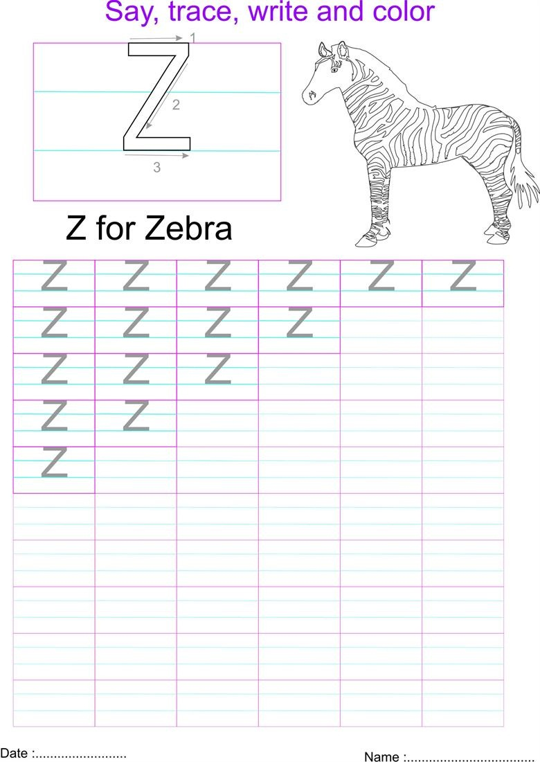 letter z worksheet capital