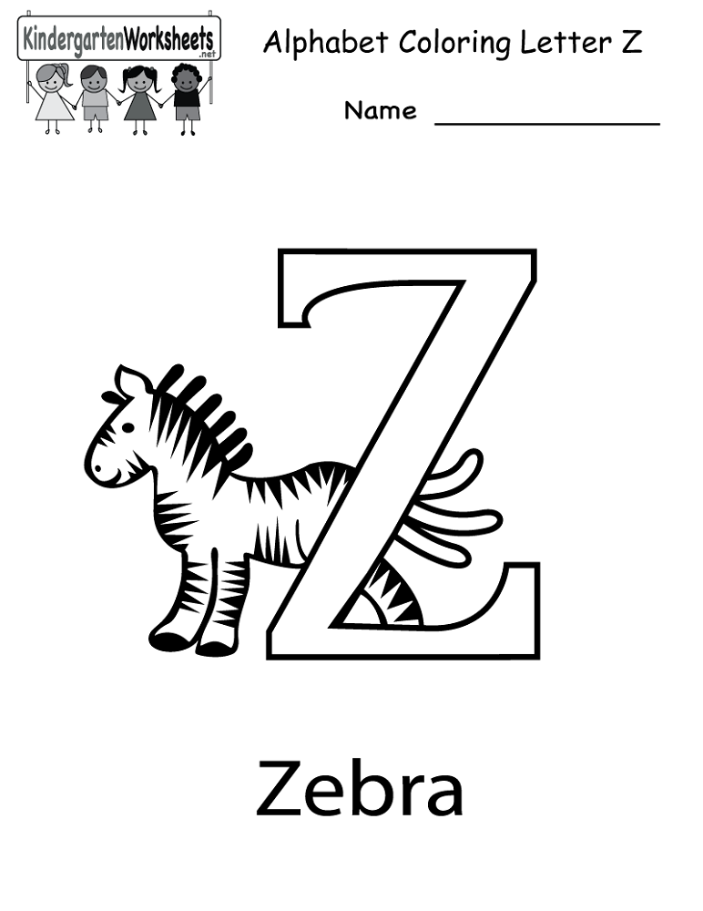 letter z worksheet for childs