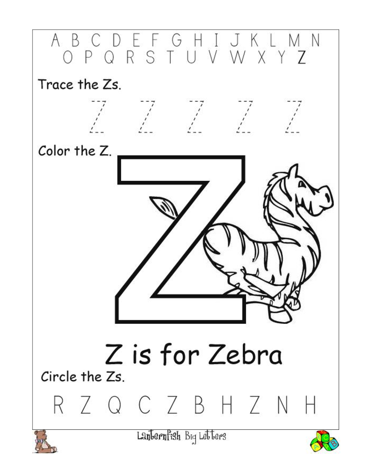 Letter Z Worksheets to Print | Activity Shelter
