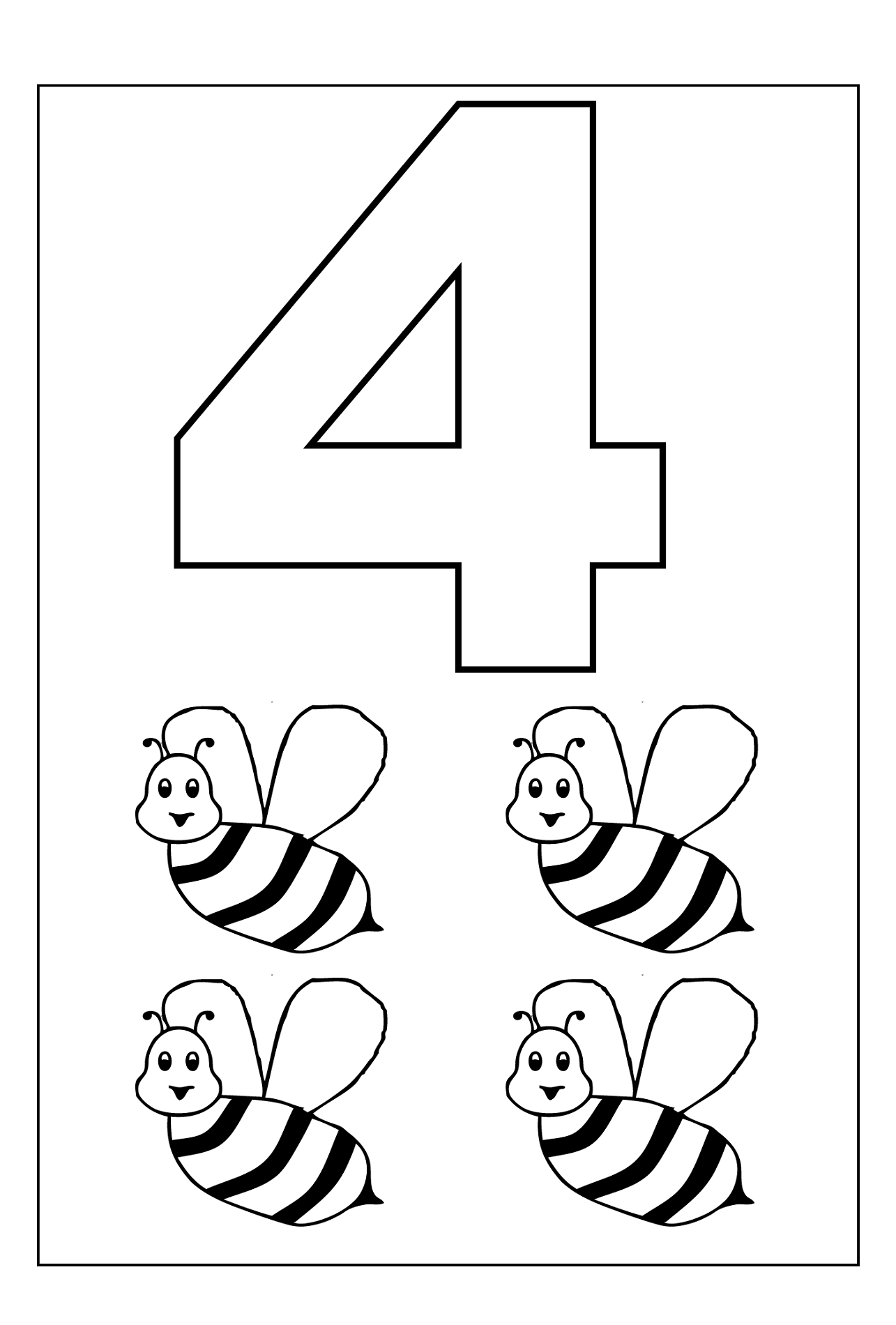 number color pages four
