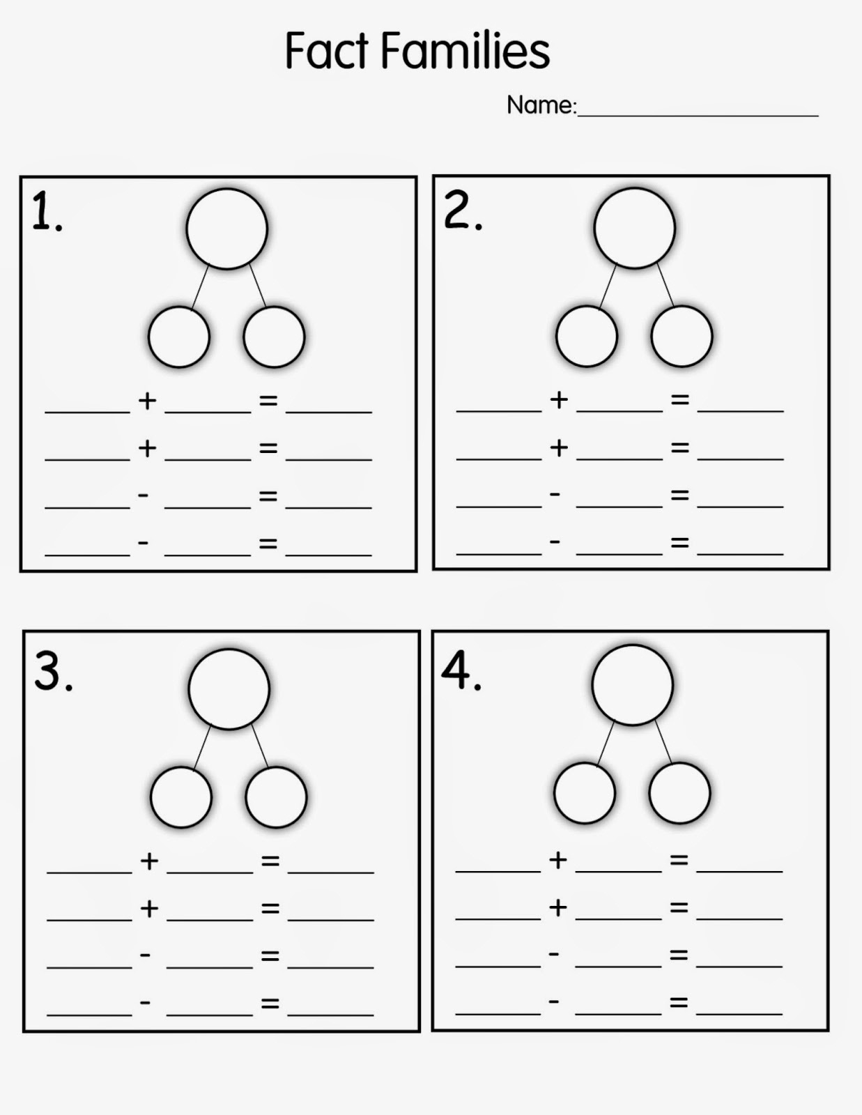 Fact Family Worksheets For First Grade Davezan – Fact Family Math Worksheets