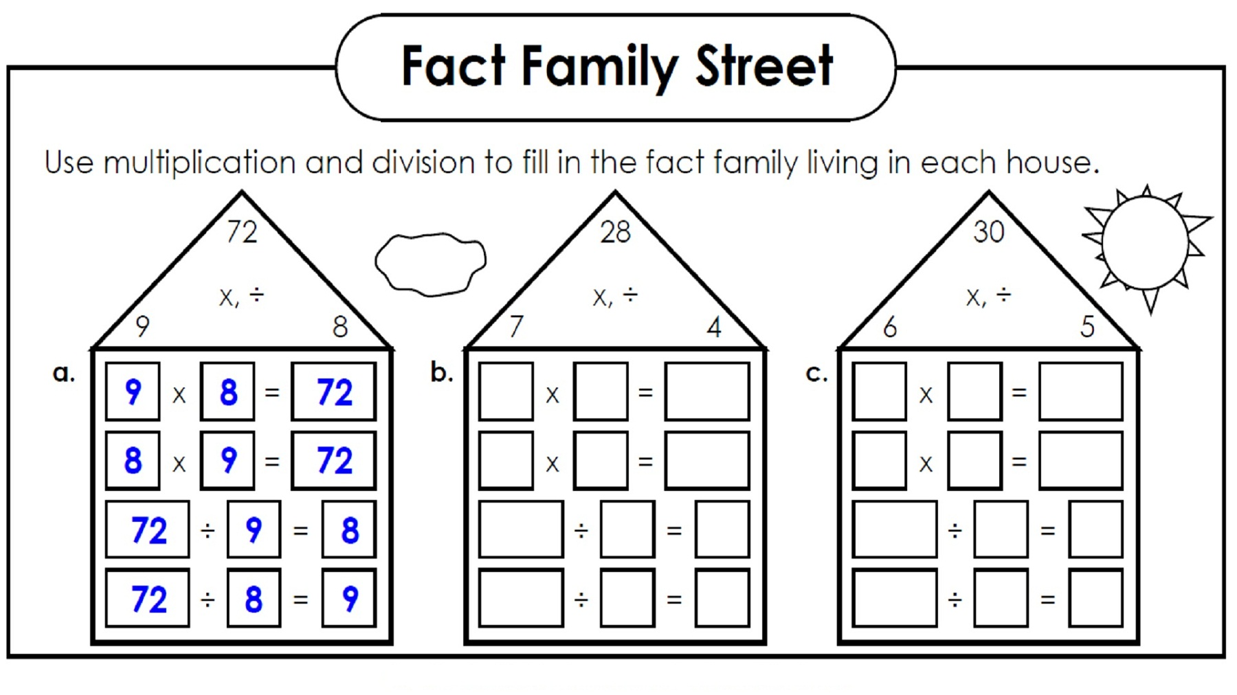 Number Family Worksheets Sharebrowse – Multiplication and Division Fact Family Worksheets