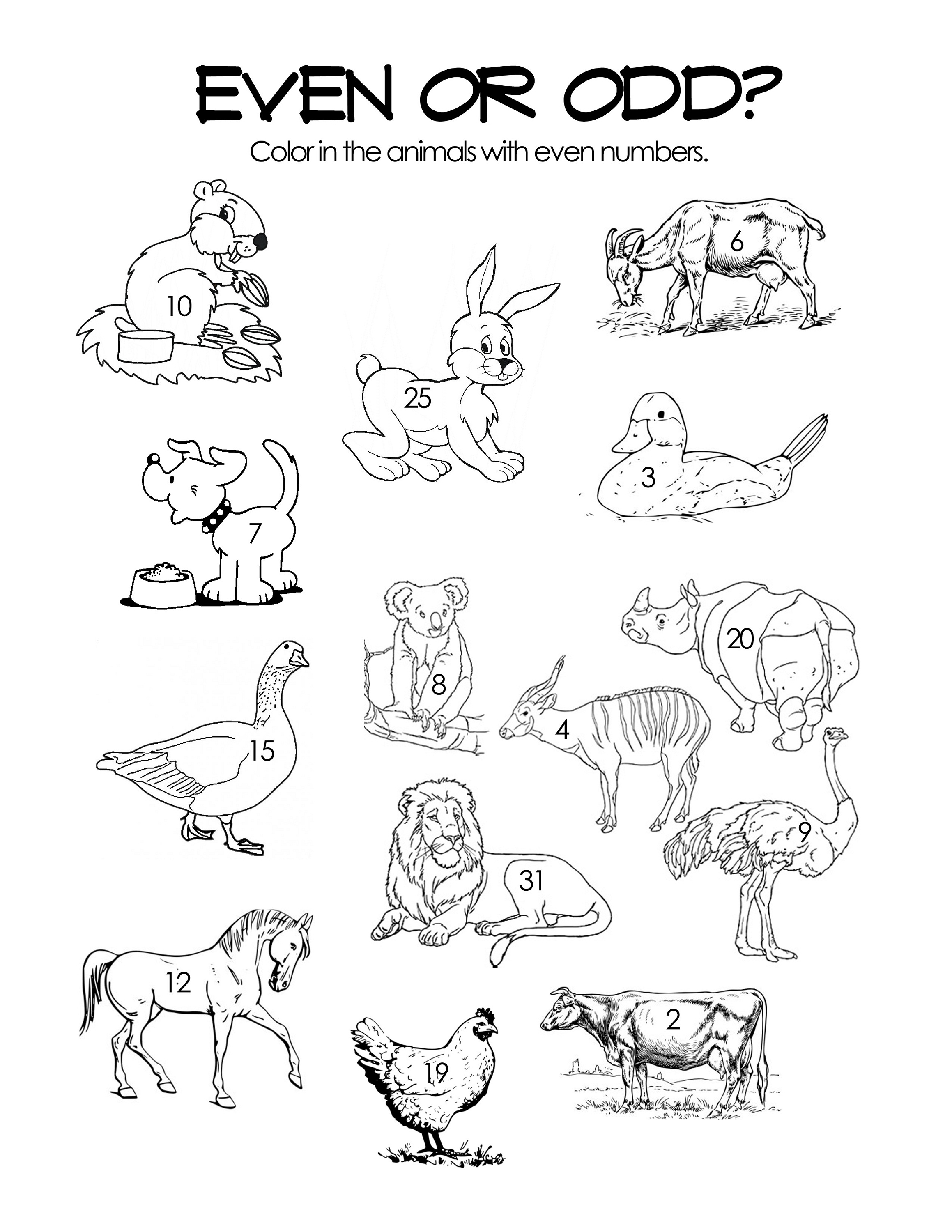 odd and even worksheets for coloring