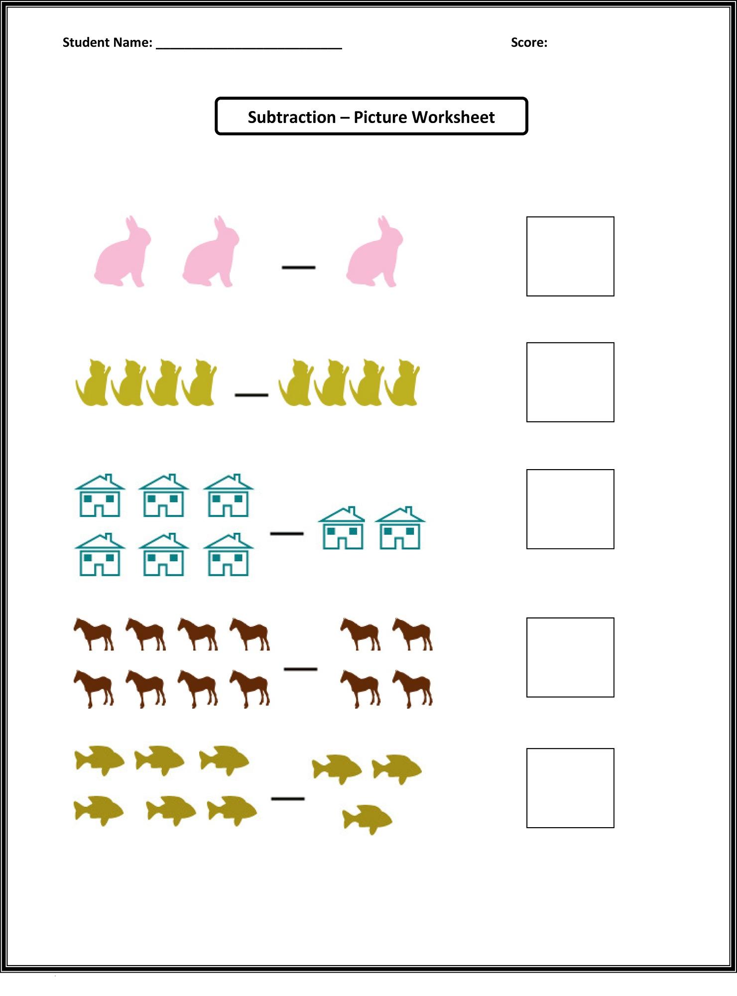picture math worksheets preschool