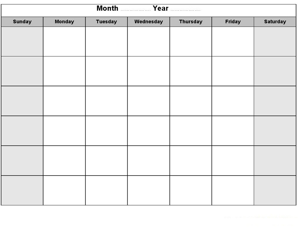 graphic relating to Printable Blank Monthly Calendar called Printable Blank Every month Calendar Recreation Shelter