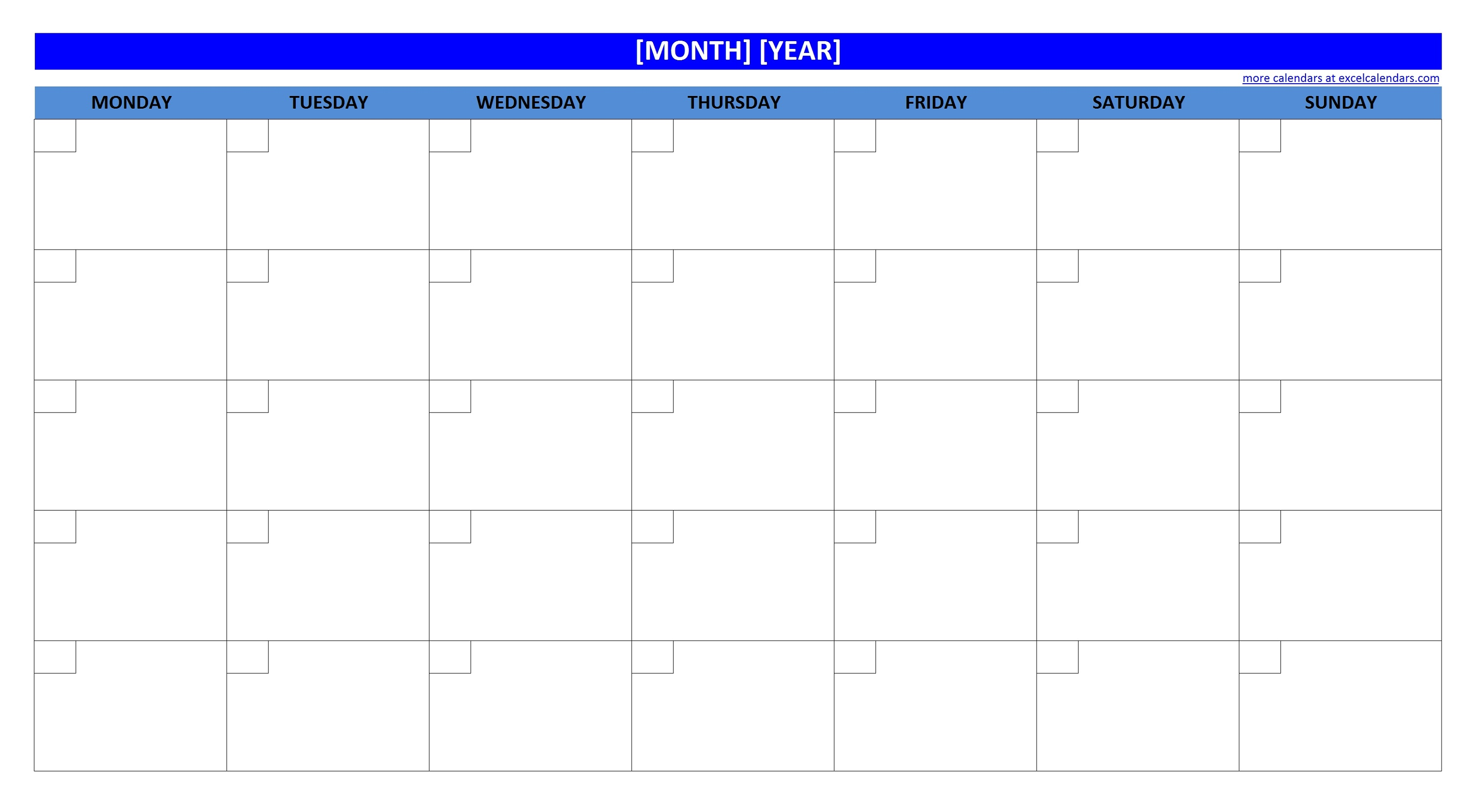 printable blank monthly calendar blue