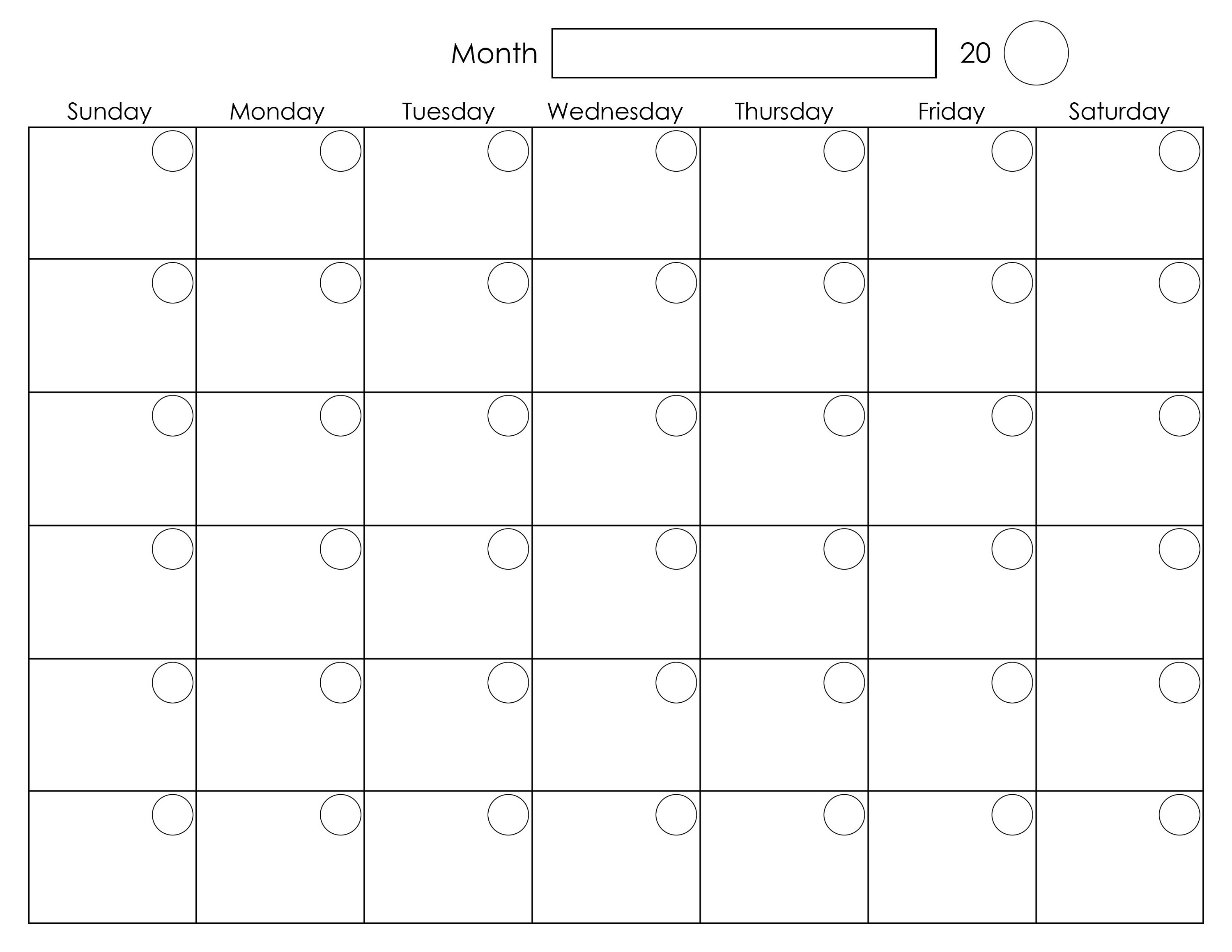 Calendar Monthly Printable : Printable blank monthly calendar activity shelter