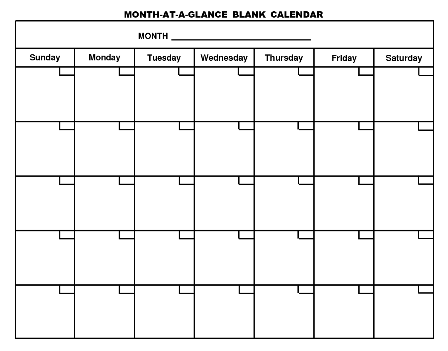 printable blank monthly calendar new