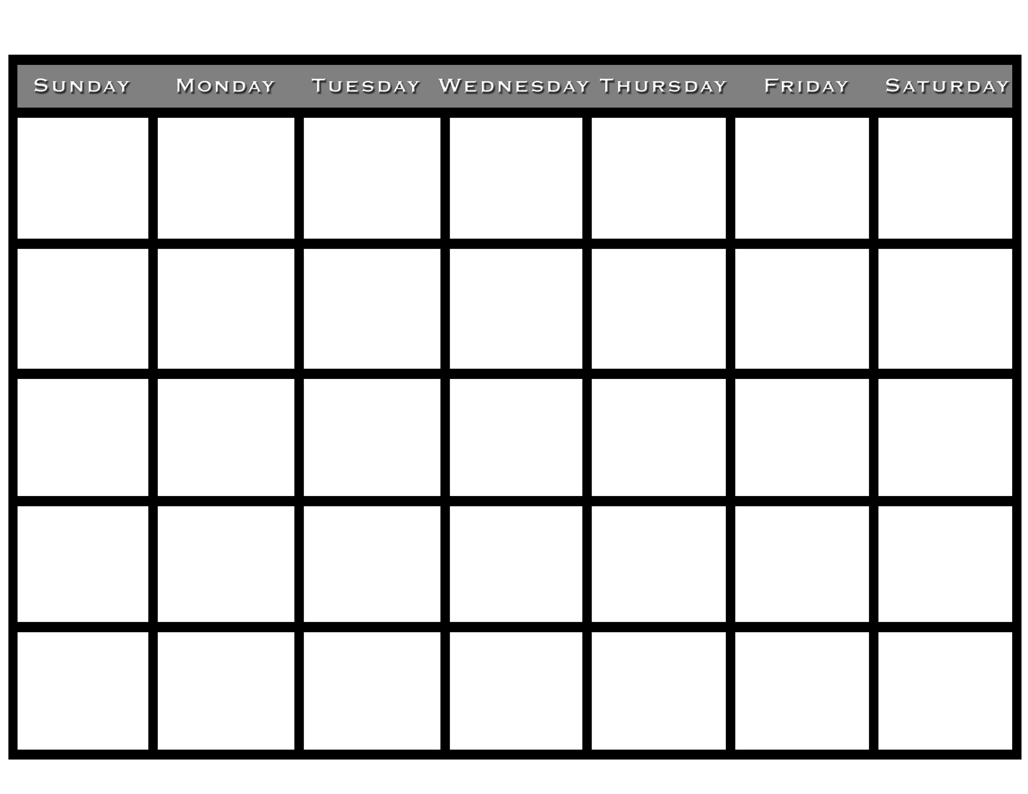 printable blank monthly calendar simple