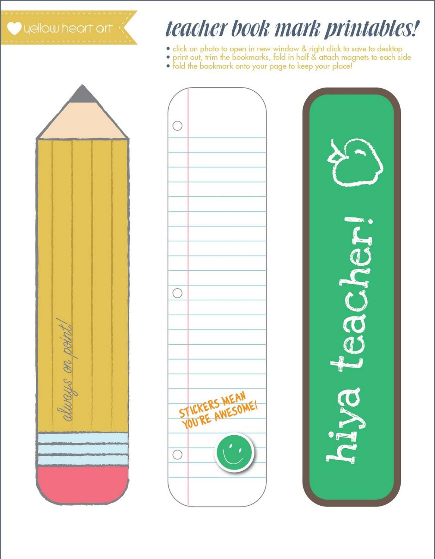 printable bookmarks for teacher